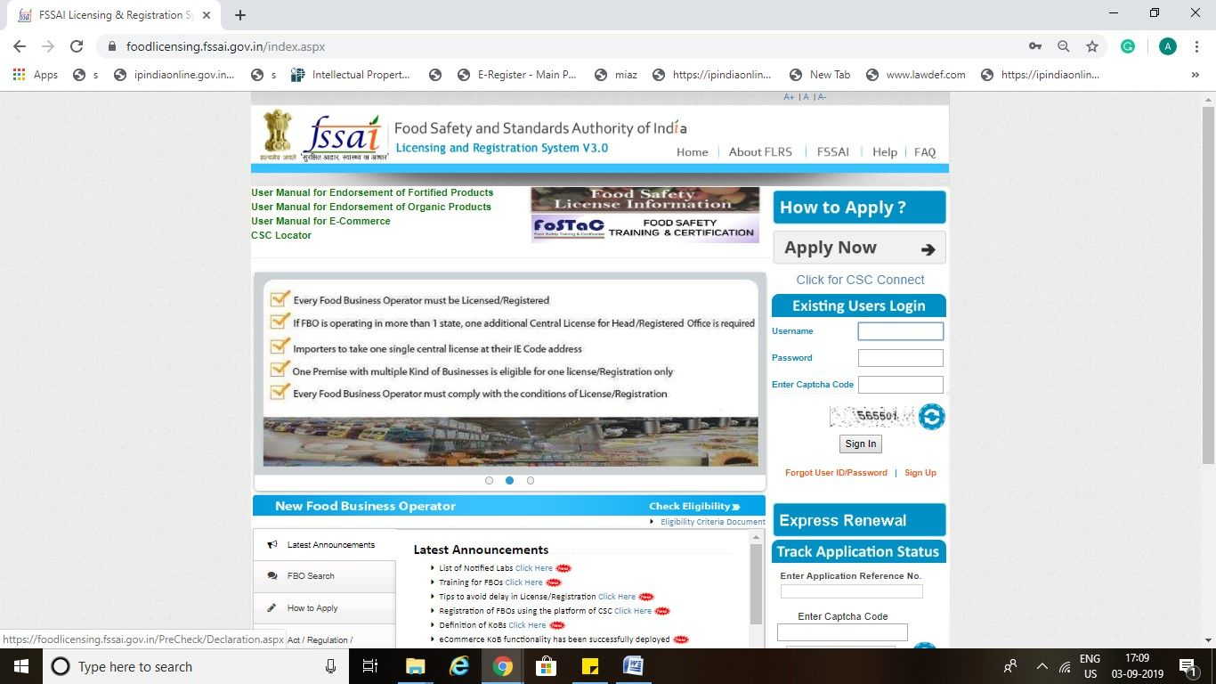 Lawdef- FSSAI License Login India Step1