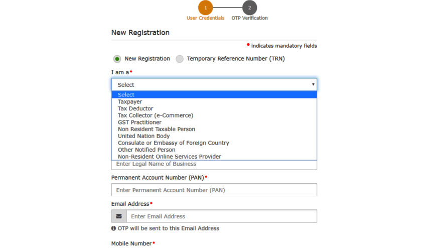 GST registration Process Part A